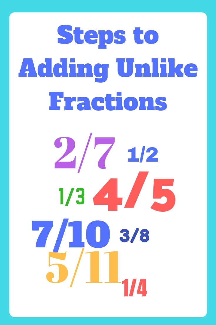steps to add unlike fractions