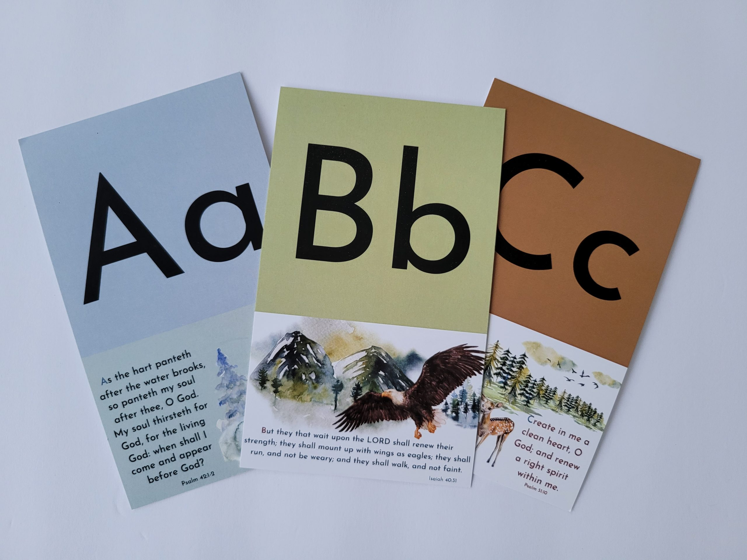 alphabet Bible verse flash cards